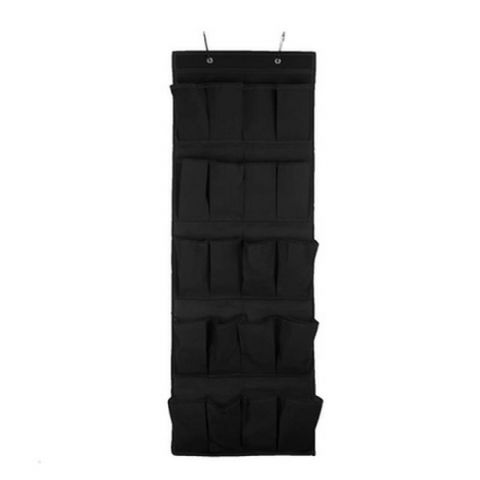 Long Black Wall or Overdoor Door Shoe Storage Pockets